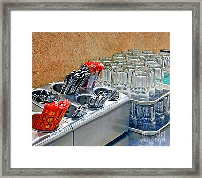 Arranged Glasses And Silverware Framed Print by David Buffington