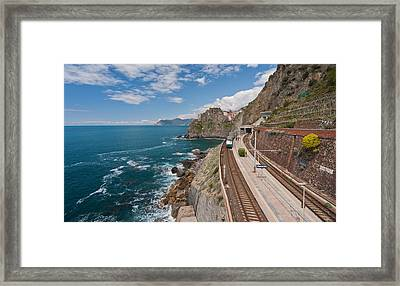 Arriving In Manarola Framed Print by Mike Reid