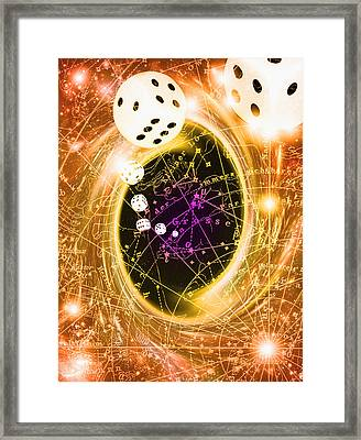 Art Of Dice, A Black Hole And Chance Framed Print by Mehau Kulyk