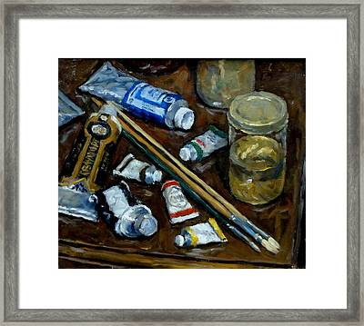 Still Life Tubes And Brushes Framed Print by Thor Wickstrom