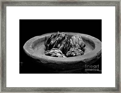 Artichokes In A Stone Dish Framed Print by Tanya  Searcy