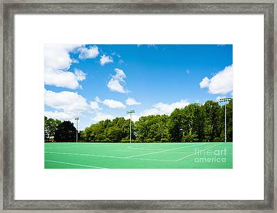 Artificial Turf Athletic Field Framed Print by Sam Bloomberg-rissman