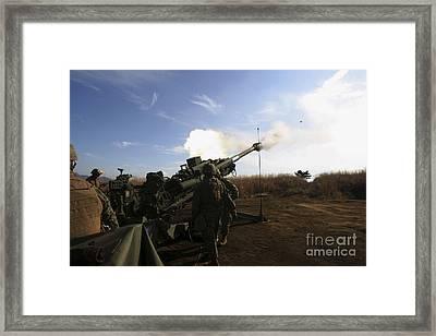 Artillerymen Fire A 155mm Round Framed Print