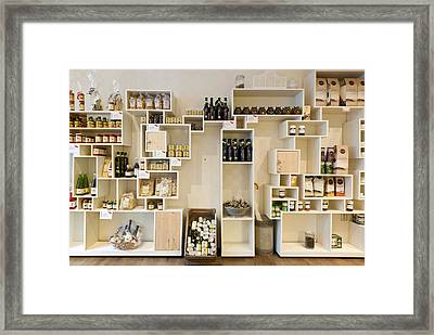 Artisan Product Shelves In A Country Framed Print by Corepics