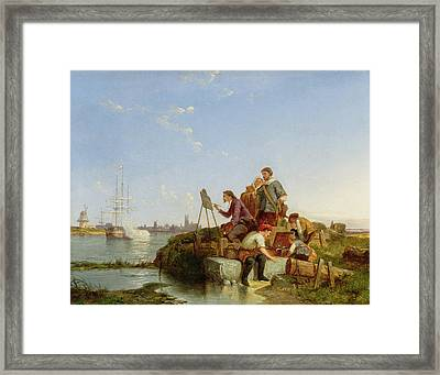 Artist At His Easel And Shipping Beyond Framed Print by Pieter Christiaan Cornelis Dommelshuizen