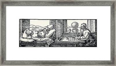 Artist Drawing A Nude Framed Print