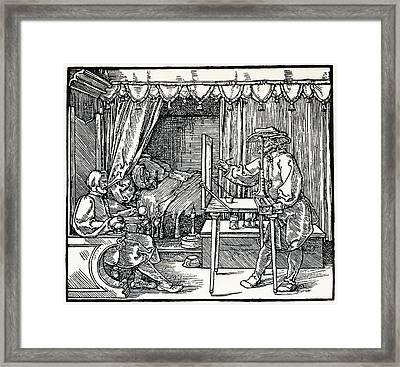 Artist Using A Sight Vane Framed Print