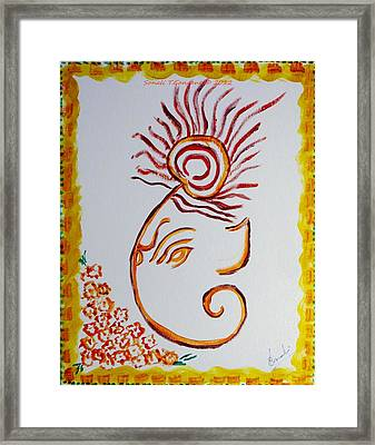 Framed Print featuring the painting Artistic Lord Ganesha by Sonali Gangane