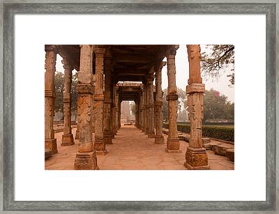 Artistic Pillars Are All That Remain Of This Old Monument Inside The Qutub Minar Complex Framed Print by Ashish Agarwal