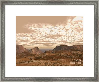 Artists Concept From Atop Olympus Mons Framed Print by Walter Myers