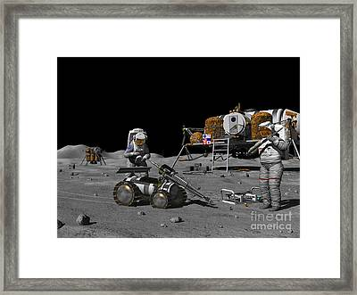 Artists Concept Of A Future Lunar Framed Print by Walter Myers