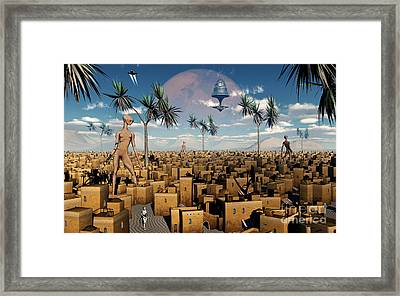 Artists Concept Of Aliens Visiting Framed Print by Mark Stevenson