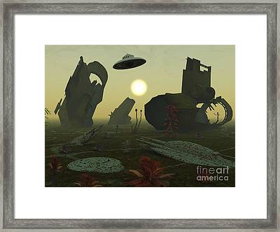 Artists Concept Of An Alien Scrap Yard Framed Print by Mark Stevenson