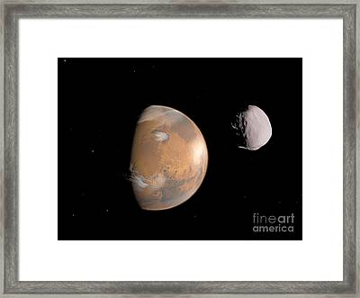 Artists Concept Of Mars And Its Moon Framed Print by Walter Myers
