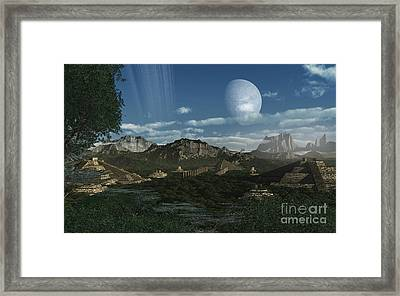 Artists Concept Of Mayan Like Ruins Framed Print