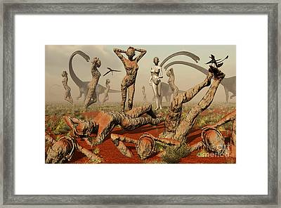 Artists Concept Of Mutated Dinosaurs Framed Print