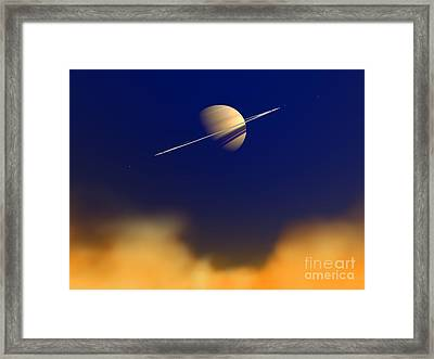 Artists Concept Of Saturn Amongst Framed Print by Walter Myers