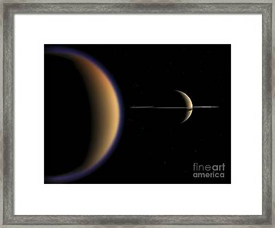 Artists Concept Of Saturn And Its Moon Framed Print by Walter Myers