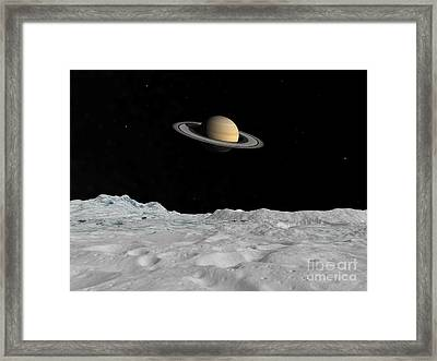 Artists Concept Of Saturn As Seen Framed Print by Walter Myers