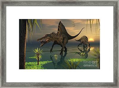 Artists Concept Of Spinosaurus Framed Print by Mark Stevenson
