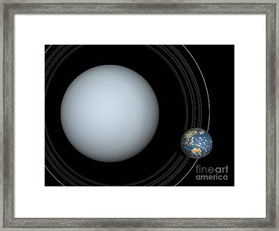 Artists Concept Of Uranus And Earth Framed Print by Walter Myers