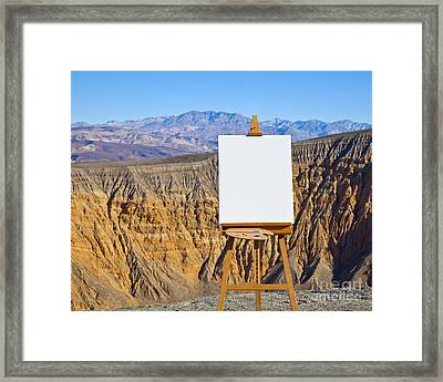 Artists Easel And Canvas In Desert Framed Print by David Buffington