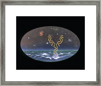 Artist's Impression Of The Origin Of Life On Earth Framed Print by Paul Harcourt Davies