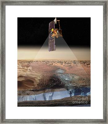 Artists View Of Odyssey Detecting Ice Framed Print by Stocktrek Images