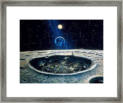 Artwork Of A City In A Crater On The Moon Framed Print by Chris Butler