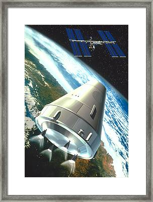 Artwork Of A Ctv Craft Supplying The Space Station Framed Print by David Ducros