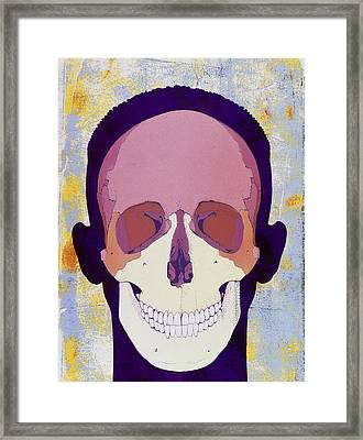 Artwork Of A Human Skull In Front View Framed Print by Hans-ulrich Osterwalder