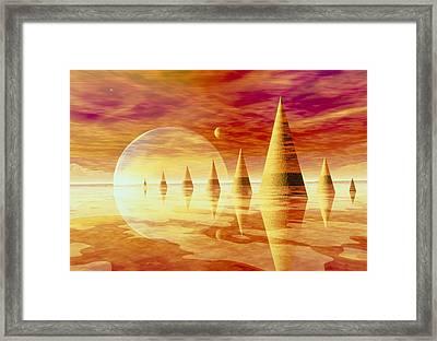 Artwork Of An Alien Landscape Framed Print by Mehau Kulyk