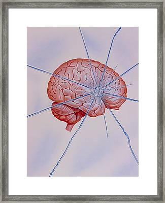 Artwork Of Brain With Shattered Glass Superimposed Framed Print by John Bavosi