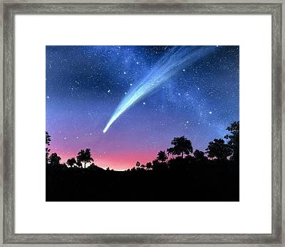 Artwork Of Comet Hale-bopp Over A Tree Landscape Framed Print by Chris Butler