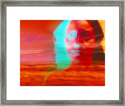 Artwork Of Depressed Woman With A Barren Landscape Framed Print by David Gifford