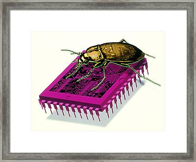 Artwork Of Millennium Bug With Beetle On Microchip Framed Print by Victor Habbick Visions