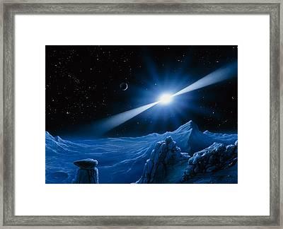 Artwork Of Pulsar Over A Planet Framed Print