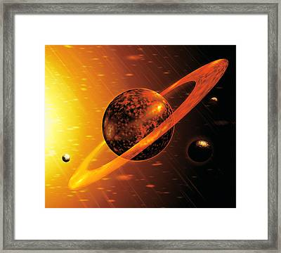 Artwork Of Red Dwarf Star With Flares Over Planet Framed Print by Victor Habbick Visions