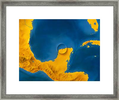 Artwork Showing Chicxulub Impact Crater, Yucatan Framed Print