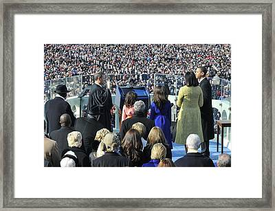 As His Family Watches Barack Obama Framed Print