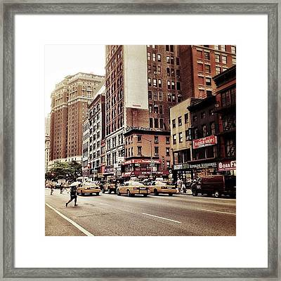 As The Rain Falls - New York City Framed Print