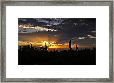 As The Sun Sets In The West  Framed Print by Saija  Lehtonen