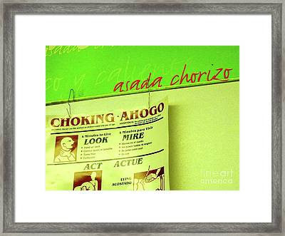 Asada Choke - Izo Framed Print by Joe Jake Pratt