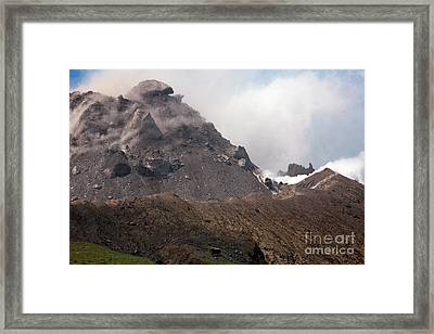 Ash And Gas Rising From Lava Dome Framed Print by Richard Roscoe