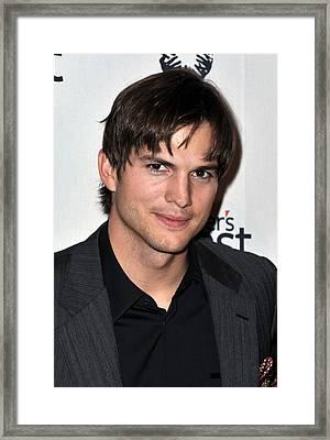 Ashton Kutcher At Arrivals For Half Framed Print by Everett