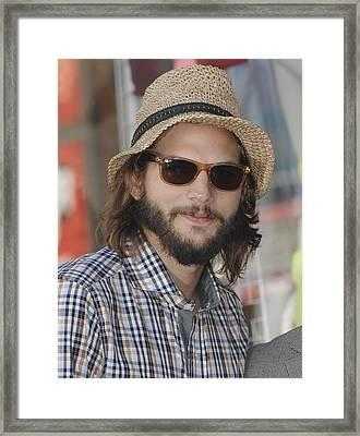 Ashton Kutcher At The Induction Framed Print by Everett