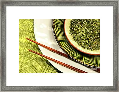 Asian Bowls Filled With Herbs Framed Print by Sandra Cunningham