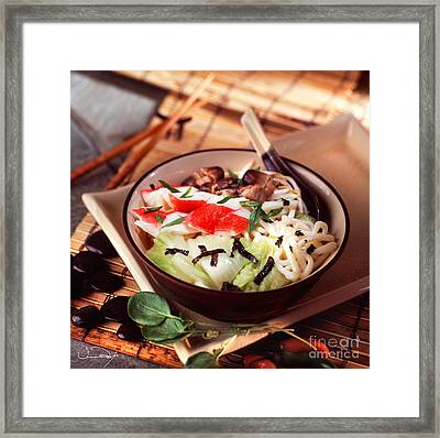 Asian Crab Noodle Soup Framed Print by Vance Fox