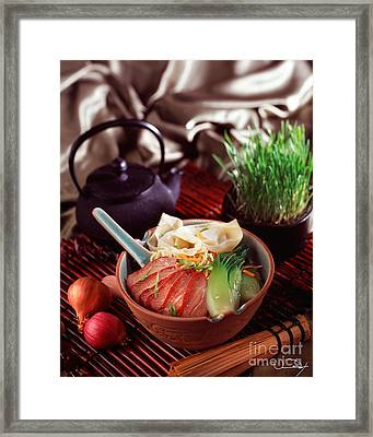 Asian Duck Noodle Soup Framed Print by Vance Fox