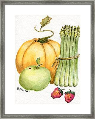 Asparagus And Friends Framed Print by Paula Greenlee